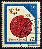 Постер, плакат: Почтовая марка ГДР 1988 Науэн Смит печать с XVI века