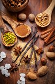 foto of pecan  - Aromatic food ingredients for baking Christmas cookies - JPG