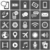 25 Vector Icons for mobile applications. Mobile Interface Icon Set. Simplus series. Each icon is a s