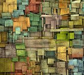image of fragmentation  - fragmented multiple color square tile grunge pattern backdrop - JPG