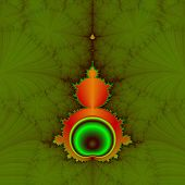 picture of mandelbrot  - Classic Mandelbrot fractal in orange and green on a green background - JPG