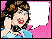 stock photo of 1950s  - Vector illustration of Pop Art Style Comic book woman gossiping away on the telephone - JPG