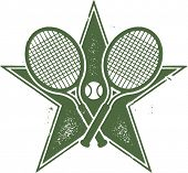 Vintage Tennis Racket Vector Star Design