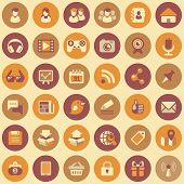 stock photo of video chat  - Set of 36 round flat web icons of social networking and multimedia  in retro colors - JPG
