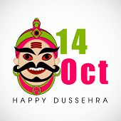 foto of ravana  - Indian festival Happy Dussehra background with illustration of Ravana face - JPG