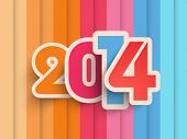 Happy New Year 2014 colorful celebration background.