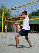 KAPOSVAR, HUNGARY - AUGUST 4: Tamas Vajda in action at a ROAK Viragfurdo Kupa beach volleyball compe