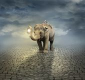 stock photo of unique landscape  - Surreal artistic illustration with an elephant carrying a lemur on its back and a lantern with its trunk - JPG
