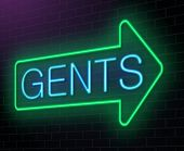 stock photo of gents  - Illustration depicting an illuminated neon sign with a gents concept - JPG