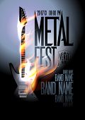 stock photo of guitar  - Metal fest design template with burning guitar and place for text - JPG