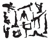 image of pranayama  - A set of highly detailed high quality yoga pose silhouettes - JPG