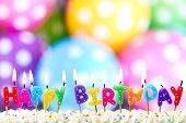 stock photo of flame  - Colorful happy birthday candles - JPG