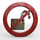 stock photo of unsafe  - Dark red forbidden unlock 3d graphic with forbidden unsafe sign not allowed - JPG