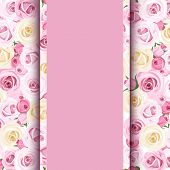 stock photo of english rose  - Pink card with pink and white English roses pattern - JPG