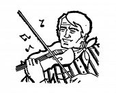 Fiddle Player - Retro Clip Art Illustration