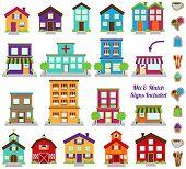 stock photo of suburban city  - Vector Collection of City and Town Buildings - JPG