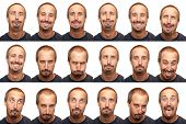 pic of coy  - A thirty something aged man posing for 16 different facial expressions - JPG