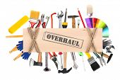 foto of overhauling  - Many different tools  for construction and home with inscription  - JPG