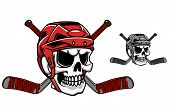 stock photo of skull cross bones  - Skull in ice hockey helmet with crossed sticks - JPG