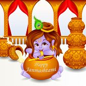 stock photo of bhakti  - illustration of Lord Krishna stealing makhaan in Janmashtami - JPG