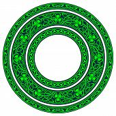 stock photo of shamrocks  - set of three round celtic borders with shamrock - JPG