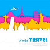 picture of world-famous  - illustration of of travel background with world famous monument - JPG