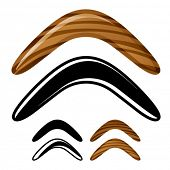 stock photo of boomerang  - vector wooden australian boomerang icons - JPG