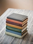 Old books on wooden table