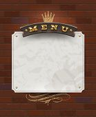 picture of woodgrain  - Menu wooden signboard and paper banner on vintage brick wall  - JPG