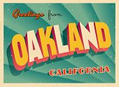 Vintage Touristic Greeting Card - Oakland, California - Vector EPS10. Grunge effects can be easily r