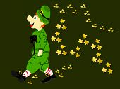 image of fourleaf  - editable eps vector format irish leprechaun walking with gold fourleaf shamrocks flowing behind him dressed in green suit and hat with large black bow tie and striped red and white socks - JPG