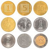 foto of shekel  - Israel circulating coins collection isolated on white background - JPG