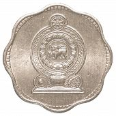 foto of sinhala  - 2 Sri Lankan rupee cents coin isolated on white background - JPG