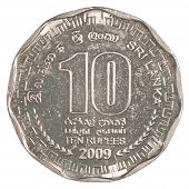 foto of sinhala  - 10 Sri Lankan rupee coin isolated on white background - JPG