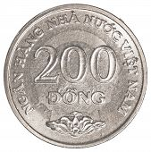 image of dong  - 200 vietnamese dong coin isolated on white background - JPG