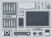 image of mainframe  - Grayscale Tecnology Devices in Flat style with Shadow on Light Background - JPG