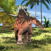 pic of giant lizard  - 3D digital render of a dinosaur Kentrosaurus on background of green palm trees and blue sky - JPG