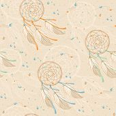 picture of dreamcatcher  - Seamless background pattern with dreamcatchers and beads - JPG