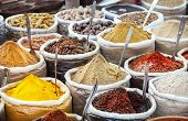 image of flea  - Indian colorful spices and tea at Anjuna flea market in Goa India - JPG
