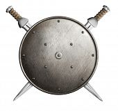 stock photo of berserk  - Two swords and metal round shield isolated - JPG