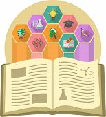 pic of open-source  - Modern flat illustration of a book as the source of knowledge with different educational symbols - JPG