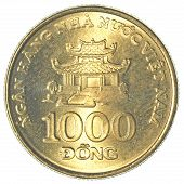 image of dong  - 1000 vietnamese dong coin isolated on white background  - JPG