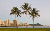 stock photo of waikiki  - Panorama of the skyline of Honolulu and Waikiki - JPG