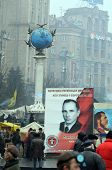 KIEV, UKRAINE - FEB 10, 2014: Stephan Bandera poster  (Ukrainian nationalist icon ). Downtown of Kie