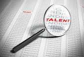 foto of recruitment  - Magnifier with focus on the word talent with many words candidates around it - JPG