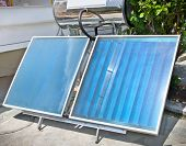 stock photo of thermal  - Thermal solar panels for domestic usage - JPG