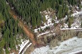 image of mudslide  - Mudslides scar the hillsides of Washington state following heavy rain on top of snow - JPG
