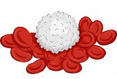 stock photo of red-blood-cell  - Illustration Featuring a Group of Red and White Blood Cells - JPG