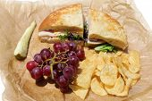stock photo of deli  - A picnic lunch with a Turkey and Cheese Sandwich on Cheese Bread - JPG
