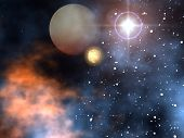 picture of space stars  - a outer space scene with sun stars planets - JPG